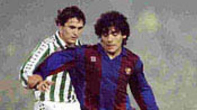 Photo of Maradona in action for Barcelona