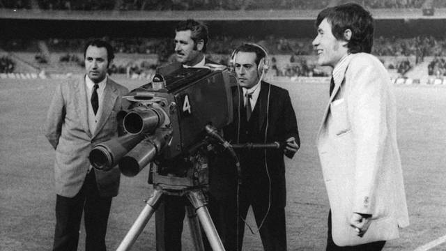 Television cameras at the Camp Nou (1970s)
