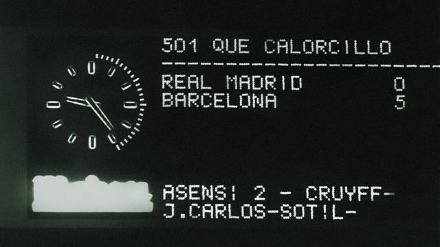 Photo of the 5-0 scoreboard at the Bernabéu