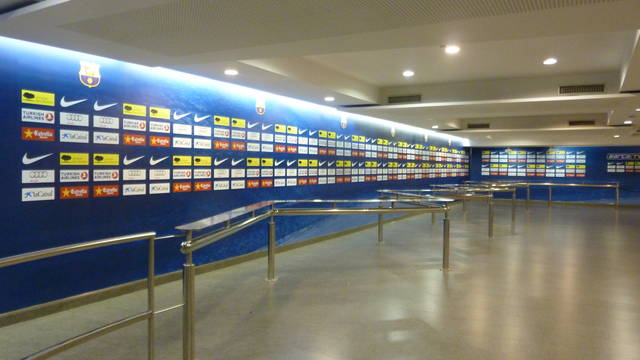 view of the mixed zone while empty showing the area where the players walk past the press