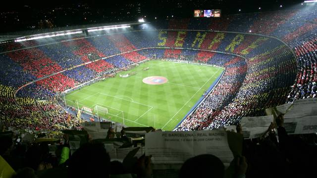 View of the Camp nou from the terraces during an evening fixture