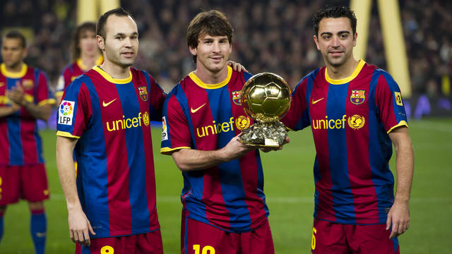 Image result for messi xavi iniesta la masia