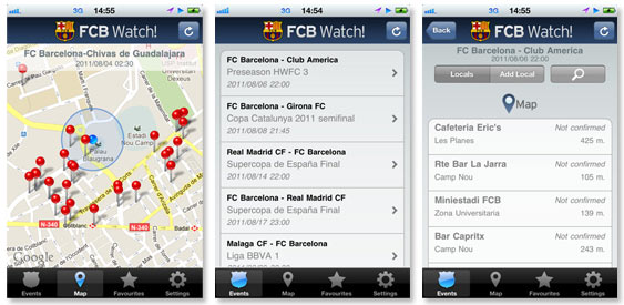 screen shot of fcb watch being used
