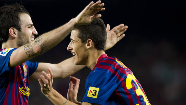 Tello and Cesc celebrating a goal / PHOTO: Arxiu FCB