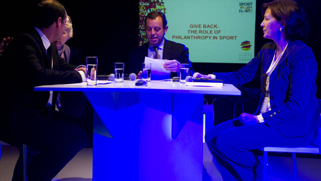 Sandro Rosell and Consuelo Crespo at the Global Sports Forum. PHOTO: LEX CAPARRS / FCB
