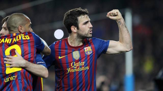 Cesc celebra el gol de Messi / FOTO: MIGUEL RUIZ - FCB