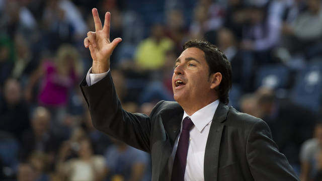 Xavi Pascual during the match against Panathinaikos / PHOTO: ÁLEX CAPARRÓS - FCB