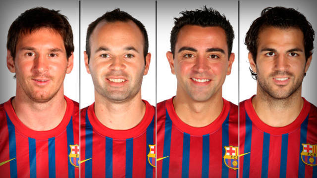 Messi, Iniesta, Xavi and Cesc
