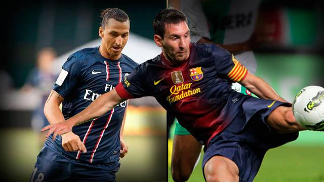 """كرة قدم برشلونة يهزم سان جيرمان بـ""""الترجيح"""" بعد التعادل 2-2 Zlatan-Messi_PSG-FCB"""