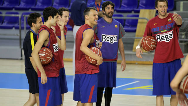 First training session at the Palau. PHOTO: MIGUEL RUIZ-FCB.