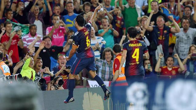 Xavi celebrates his goal / PHOTO: MIGUEL RUIZ - FCB