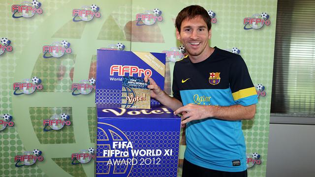 Messi, votant l'Onze Mundial FIFA/FIFPro 2012. FOTO: MIGUEL RUIZ-FCB.