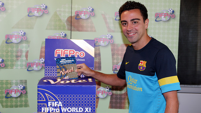 Xavi voting for the World XI team for FIFA/FIFPro 2012. PHOTO: MIGUEL RUIZ-FCB.
