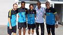 Iniesta, Song, Alves i Valdés, amb Rivaldo / FOTO: MIGUEL RUIZ-FCB