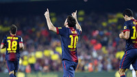 Messi celebra un dels seus dos gols contra el Reial Madrid / FOTO: MIGUEL RUIZ - FCB