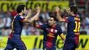 Cesc, Xavi i Alba celebren un dels tres gols a camp del Sevilla / FOTO: MIGUEL RUIZ-FCB