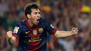 Messi aprs un de ses buts / Photo Miguel Ruiz