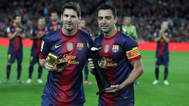 Xavi and Messi / PHOTO: MIGUEL RUIZ - FCB