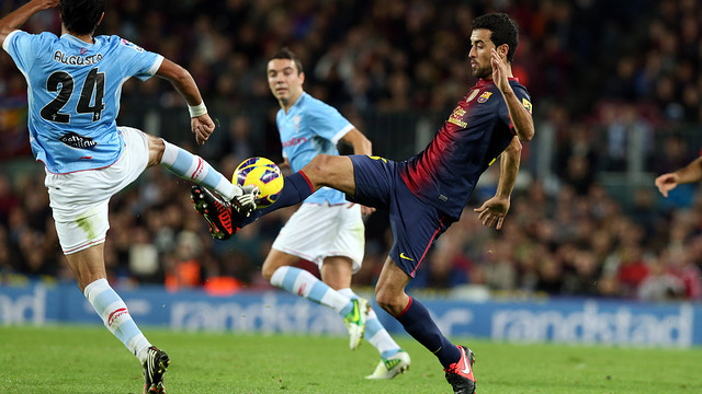 Sergio Busquets in action against Celta / PHOTO: MIGUEL RUIZ - FCB