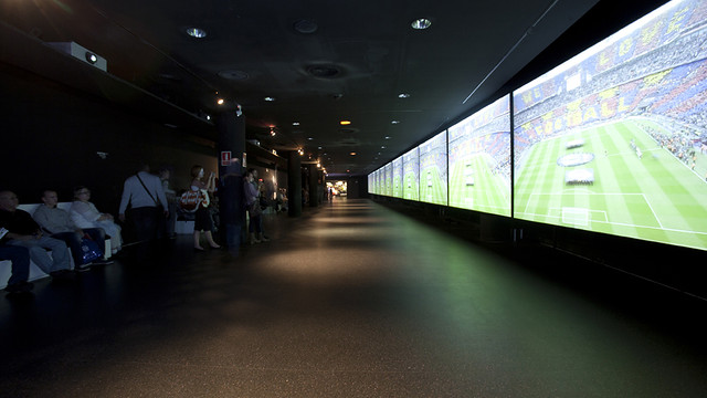 View of the 35 meters screen with the best moments of the FCB latest championships