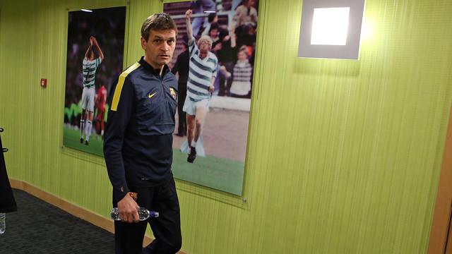 Vilanova, accediendo a la sala de prensa / FOTO: MIGUEL RUIZ-FCB