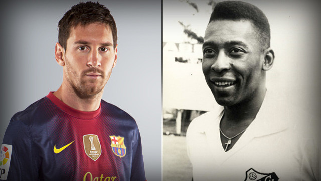 Messi, with 76 goals in 2012, surpasses Pelé's mark of 75 goals scored in 1958