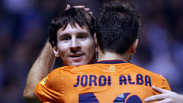 Leo Messi and Jordi Alba / PHOTO: MIGUEL RUIZ-FCB