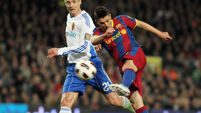 David Villa against Zaragoza / FOTO: ARXIU FCB