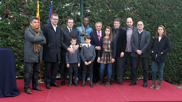 Abidal, Rosell and the jury  PHOTO: MIGUEL RUIZ - FCB