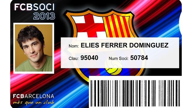 2013 FC Barcelona member card