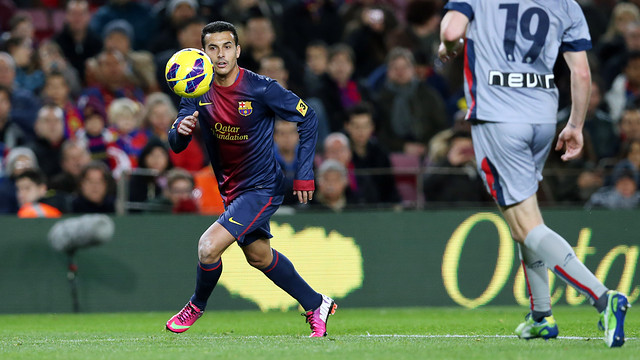Pedro, against Osasuna /  PHOTO: MIGUEL RUIZ - FCB