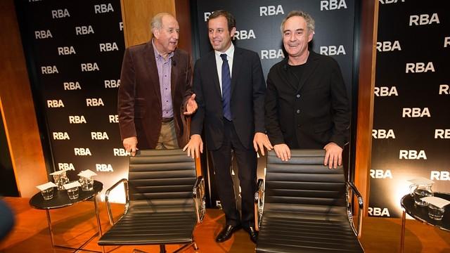 President Sandro Rosell, with Ferran Adrià and Carles Rexach / PHOTO: GERMAN PARGA - FCB