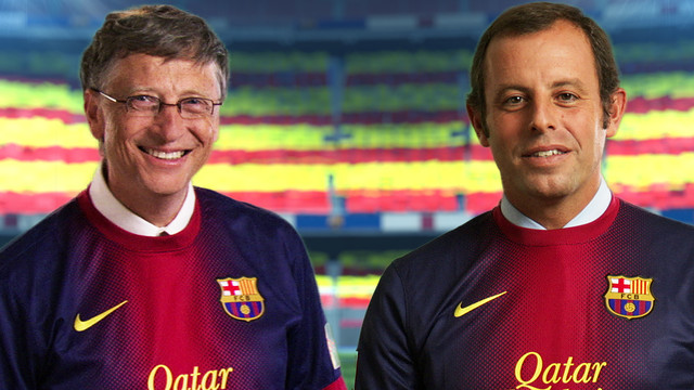 Bill Gates With Sandro Rosell At Barcelona - FlyBarca