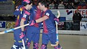 Els jugadors celebrant un dels gols contra el CH Lloret / FOTO: A Kops d'Stick