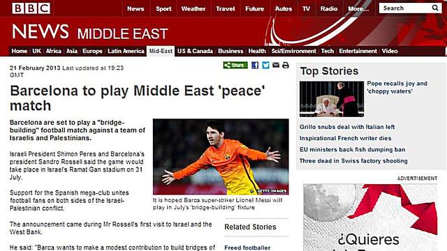 Messi com a imatge per il·lustrar el portal web de la BBC a la secció 'Orient Mitjà' / FOTO: Web BBC