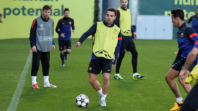 Xavi, en l'entrenament d'aquest dilluns. FOTO: MIGUEL RUIZ-FCB.