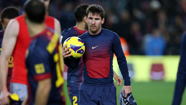 Leo Messi marc cuatro goles ante Osasuna / FOTO: MIGUEL RUIZ - FCB