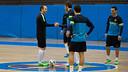 Iniesta i Torras, a l'entrenament / FOTO: GERMÁN PARGA - FCB