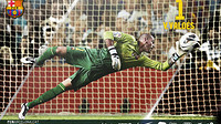 Victor Valdes diving to make a save