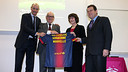 Board member Jordi Moix, vice-president Carles Vilarrubí, the President of the Universitat Marie-Christine Lemardeley and the Director of the Àrea de Llengua i Universitats of the IRL Andreu Bosch / PHOTO: MIGUEL RUIZ - FCB