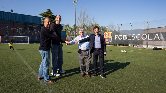 Barrufet, Dueas, Fust and Amor, FCBEscola sponsors / PHOTO: GERMN PARGA - FCB