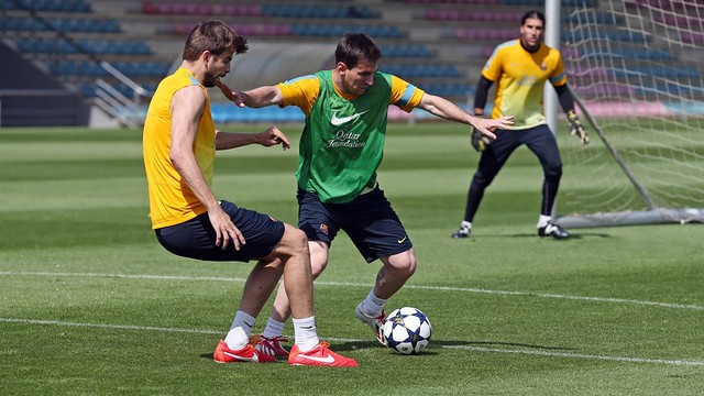 Messi et Piqué, ce matin / Photo Miguel Ruiz