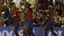 Eto'o celebra un gol a San Mamés / FOTO: ARXIU FCB
