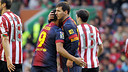 Messi and Alexis celebrate Baras second goal in Bilbao / Photo Miguel Ruiz