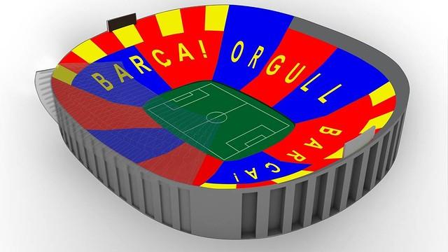 'Barça, Orgull, Barça' será el mosaico del Barça-Bayern