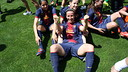 Sonia Bermúdez on the pitch of the San Mamés.