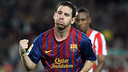 Messi celebrating one of his goals against Atlético Madrid  / PHOTO: ARXIU FCB