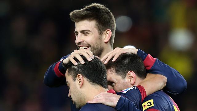 Piqué, Xavi and Messi during a game / PHOTO: MIGUEL RUIZ-FCB