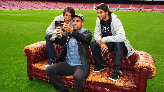 Eric Koston, Paul Rodríguez i Sean Malto, al Camp Nou. FOTO: NIKE
