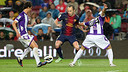 Iniesta in his 300th league appearance against Valladolid. PHOTO: MIGUEL RUIZ-FCB.